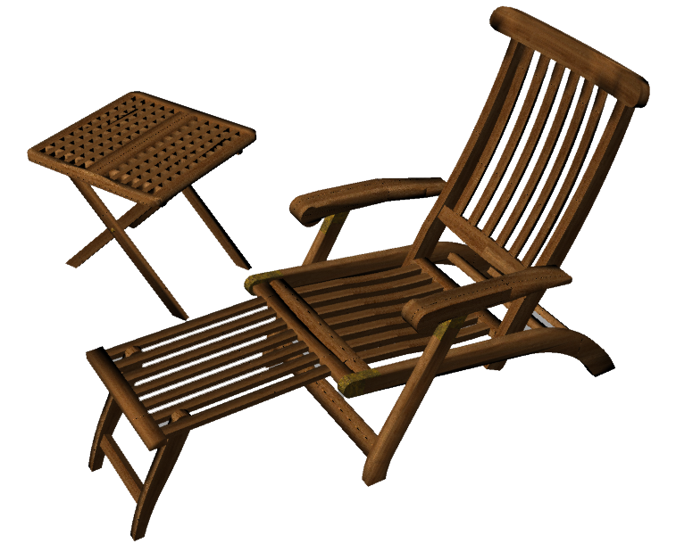 Teak Lounge Chair  3D View
