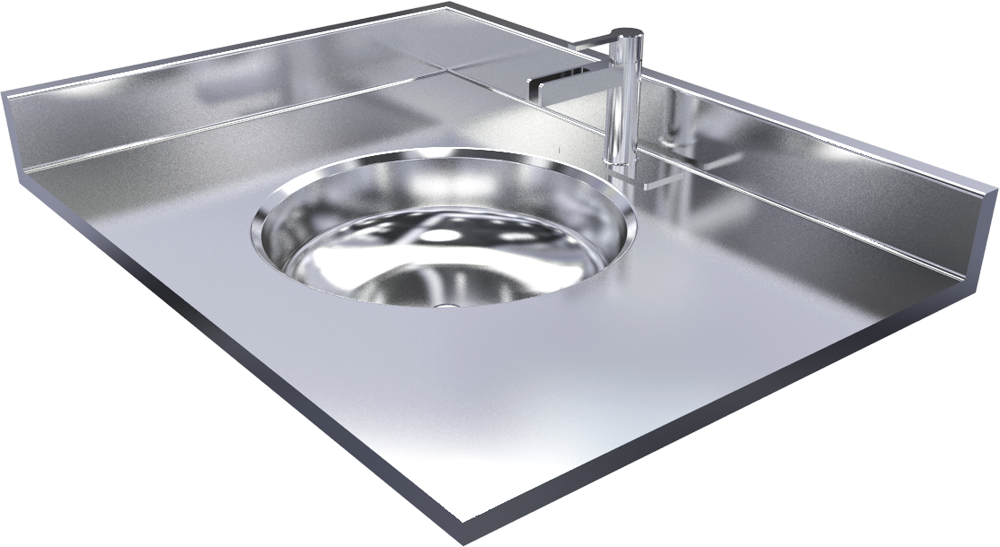 Stainless Steel Vanity Top With