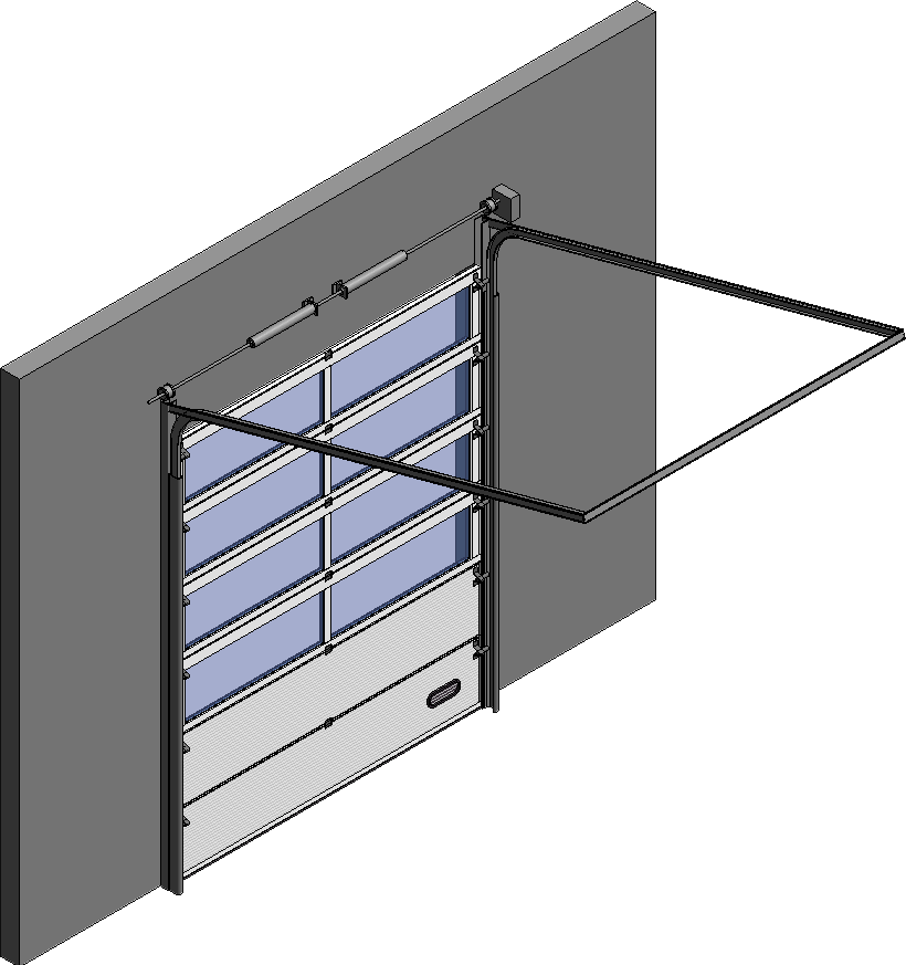 Cad und bim objekte porte industrie vitree 02 levee for Porte normale