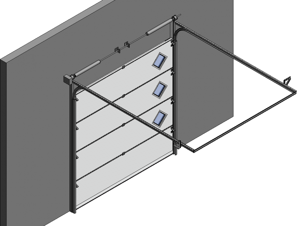 Cad und bim objekte 001 porte sectionnelle astec serena for Astec porte de garage