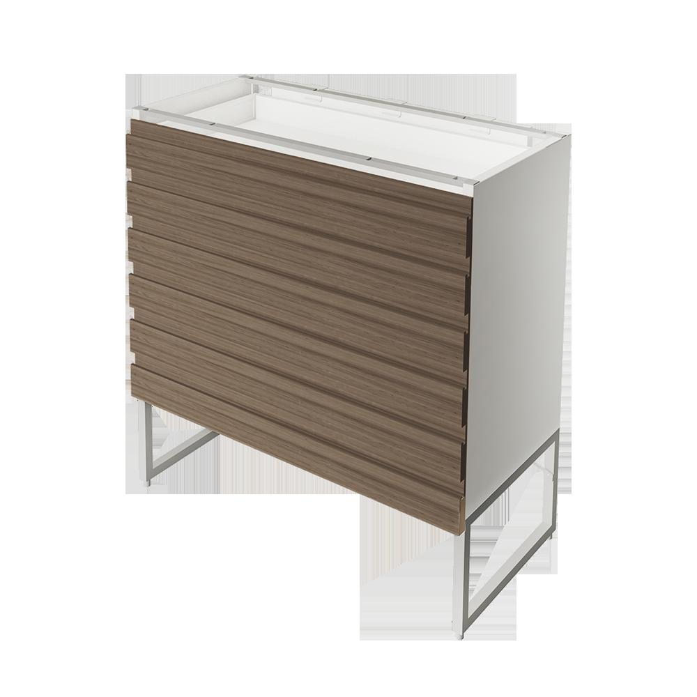 METOD High Cab Fridge Freezer with 3 Doors White Torhamn Ash  3D View