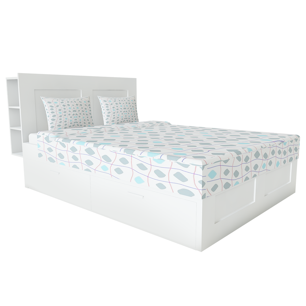 BRIMNES Bed with Storage head and Drawers Large 2 Places  3D View