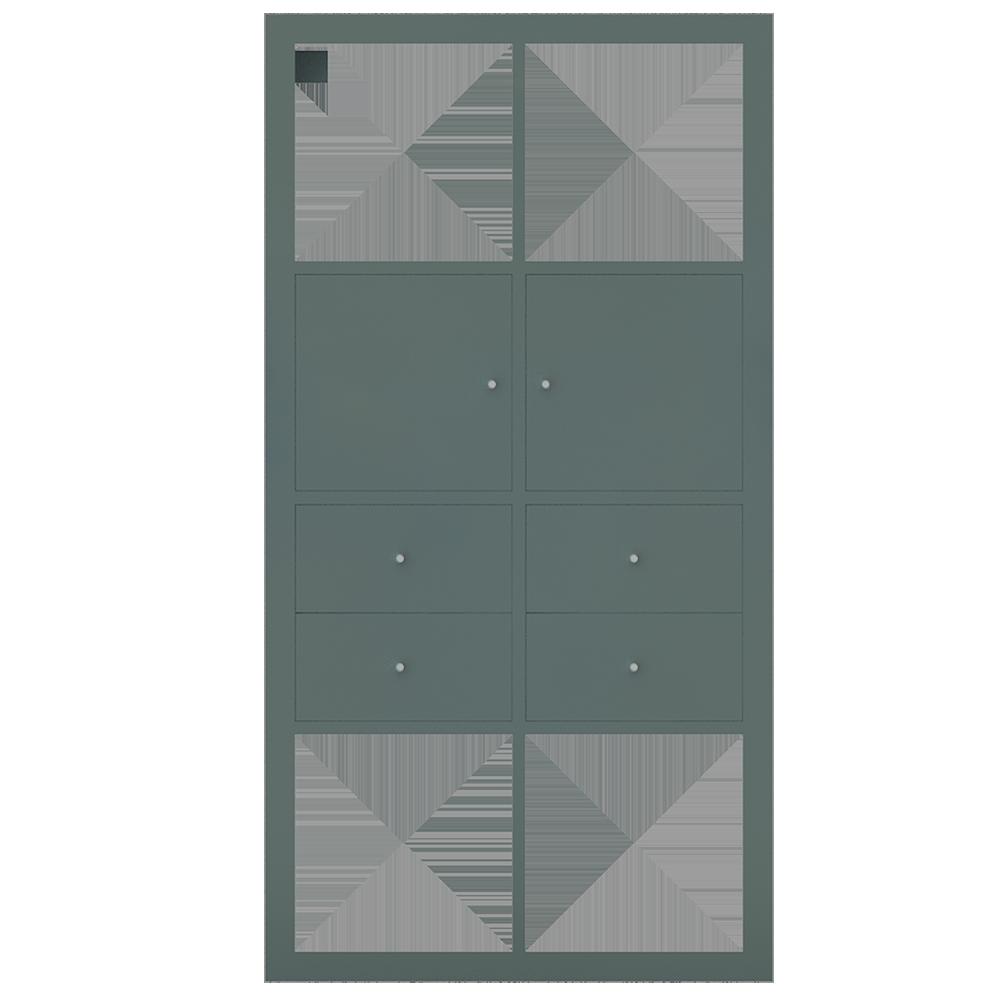 cad- und bim-objekte - kallax regal mit 4 zubehor shiny turquoise