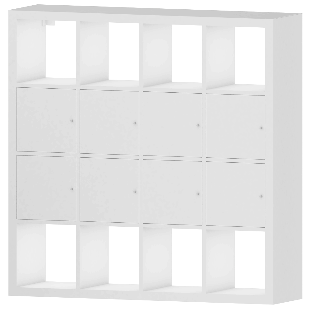 Cad And Bim Object Kallax Shelf With 8 Accessories Big White  # Kallax Blanc