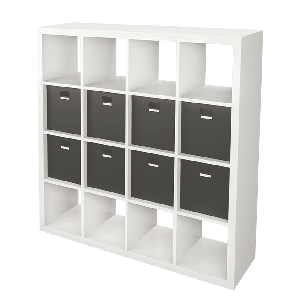 bim objekt kallax shelf with 8 accessories black white ikea. Black Bedroom Furniture Sets. Home Design Ideas