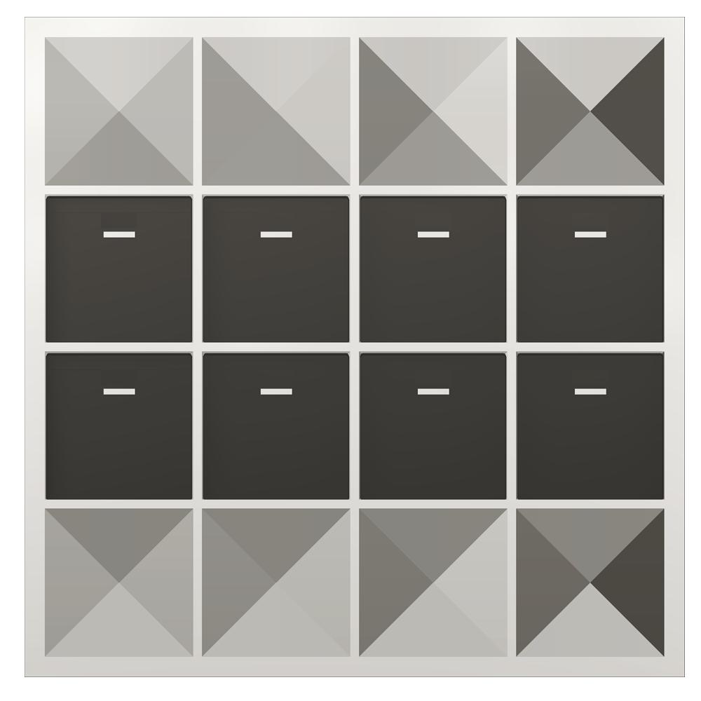 bim objekt kallax shelf with 8 accessories black white ikea. Black Bedroom Furniture Sets. Home Design Ideas