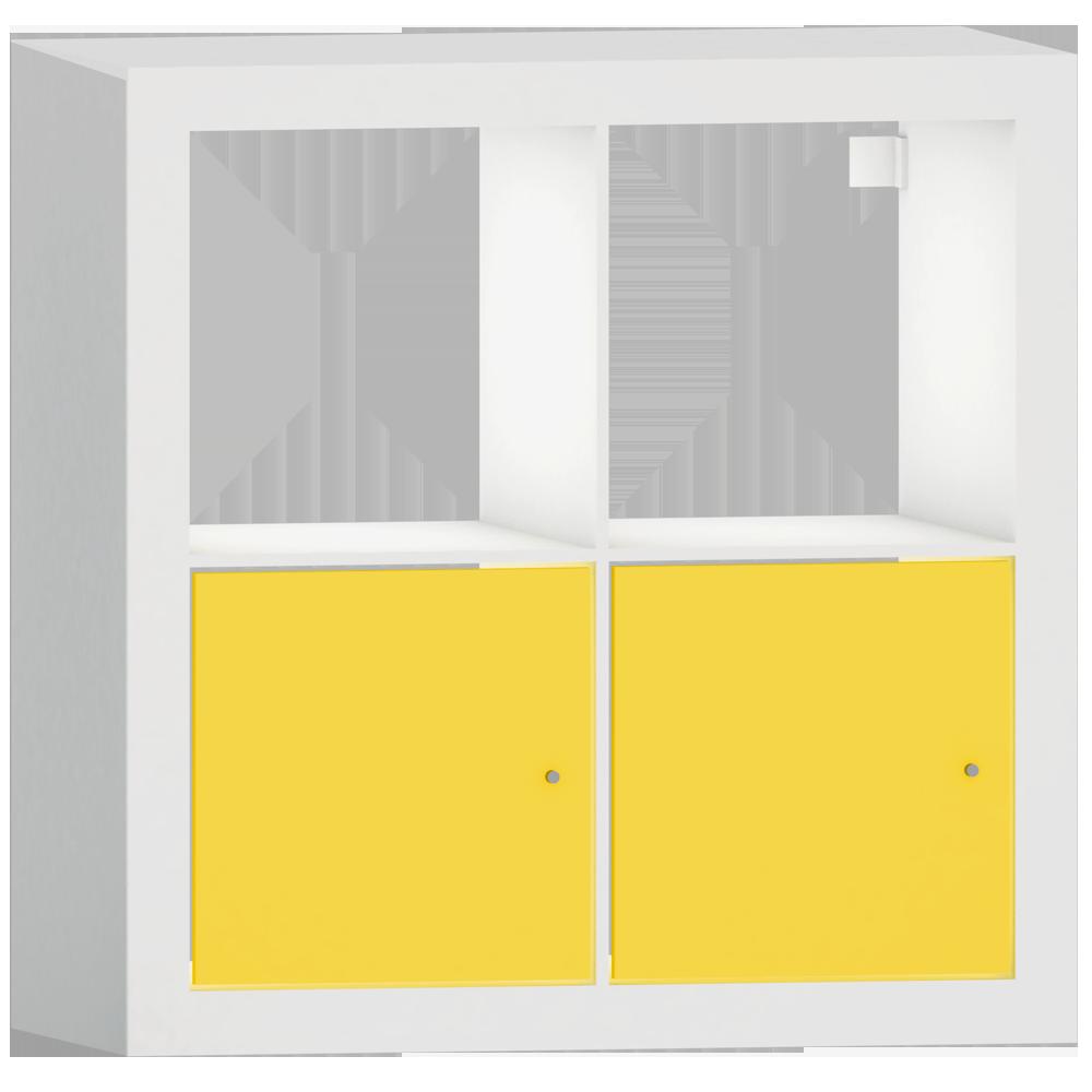 KALLAX Shelf with Doors White Yellow Square