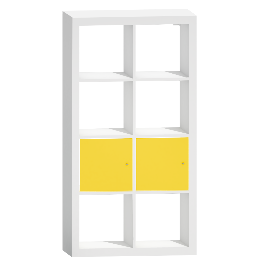 KALLAX Shelf with Doors White Yellow Vertical