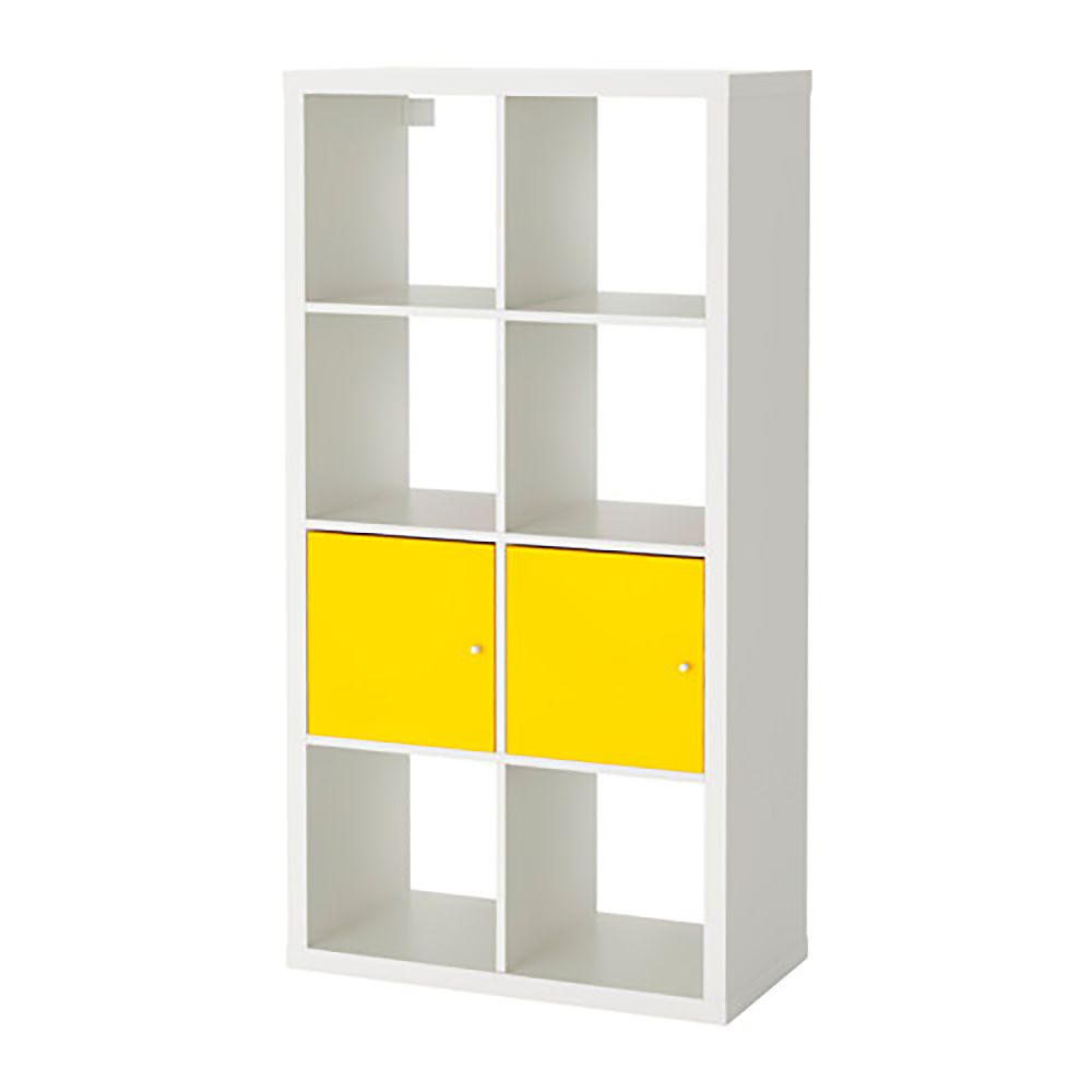 obiekt bim kallax shelf with doors white yellow vertical. Black Bedroom Furniture Sets. Home Design Ideas