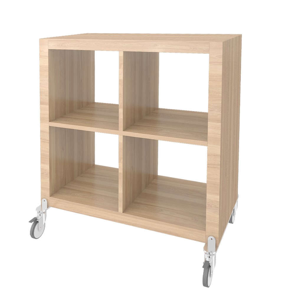 cad and bim object kallax shelf on castors bleached oak effect ikea. Black Bedroom Furniture Sets. Home Design Ideas
