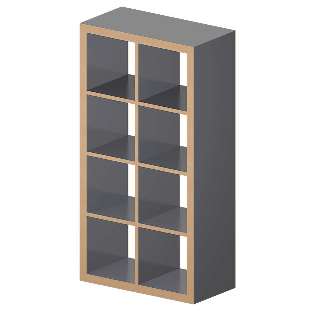 Cad and bim object kallax etagere gray wood effect ikea - Etagere ikea ...