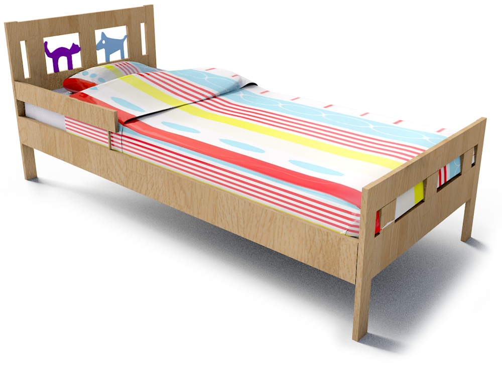 Kritter Bed Frame and Guard Rail  3D View
