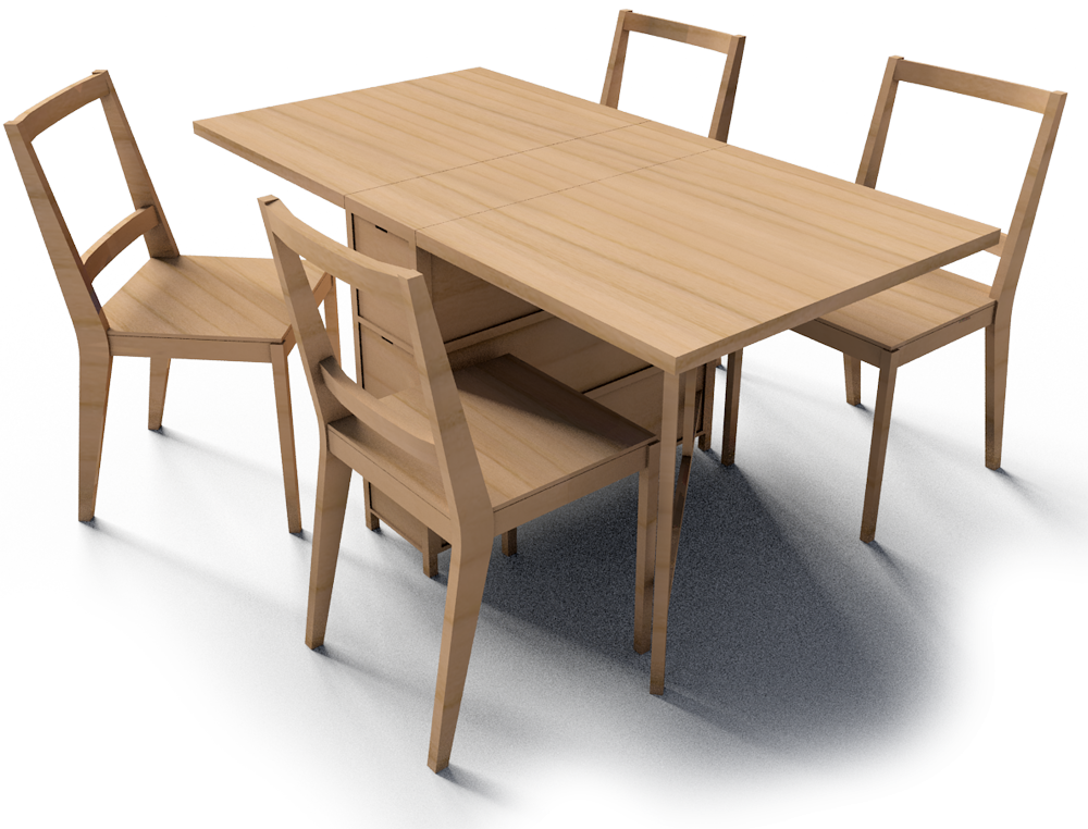 Cad And Bim Object Gateleg Table And Bertil Chairs Ikea