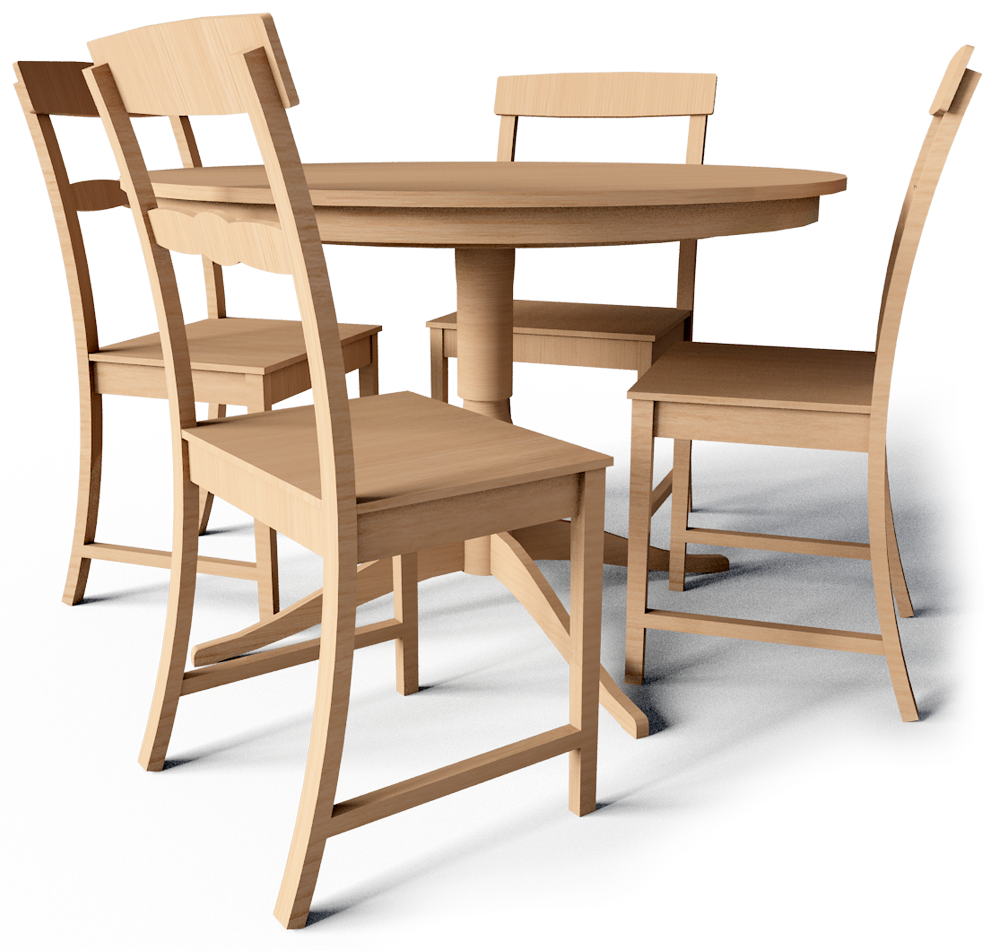 CAD and BIM object - Leksvik Drop Leaf Table and Chairs