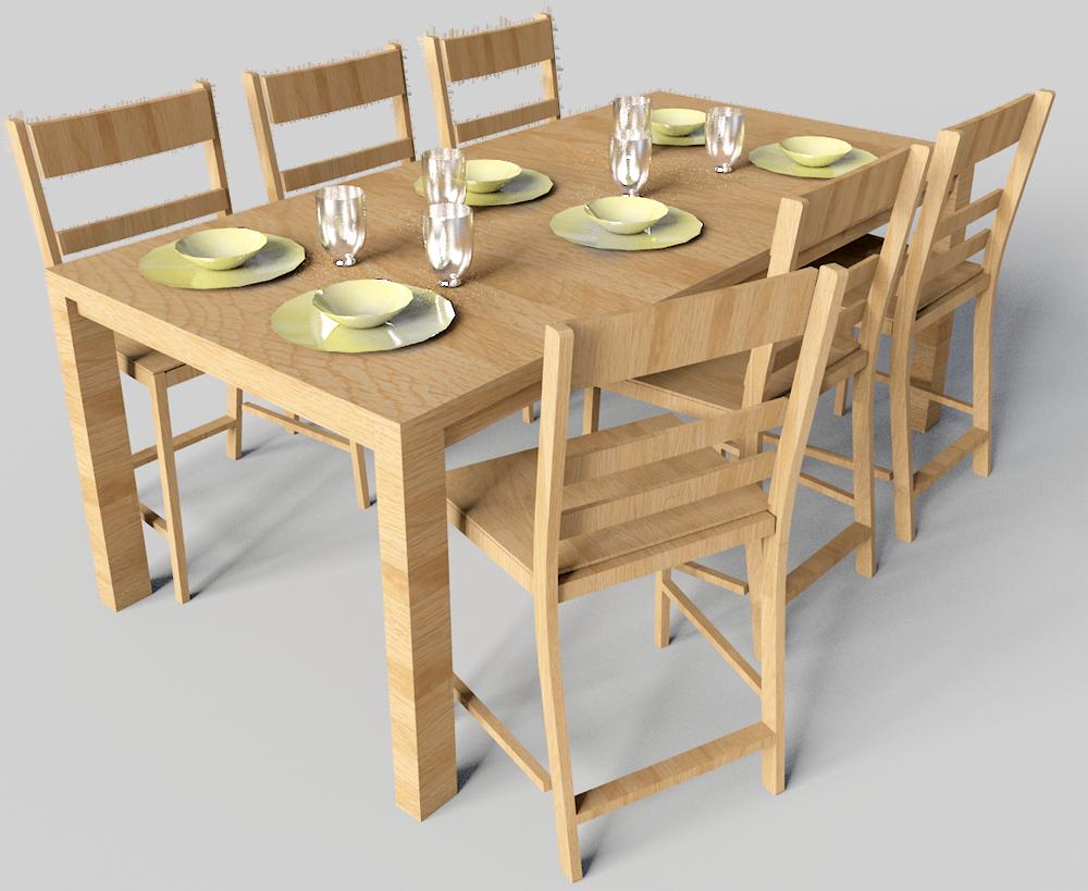Cad I Bim Objekat Markor Table And Harald Chairs Ikea