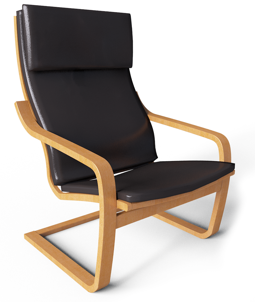 Cad and bim object poang armchair ikea for Chaise fauteuil ikea