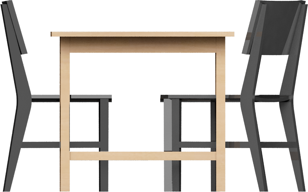 CAD and BIM object - Norden Gateleg Table and Chair - IKEA