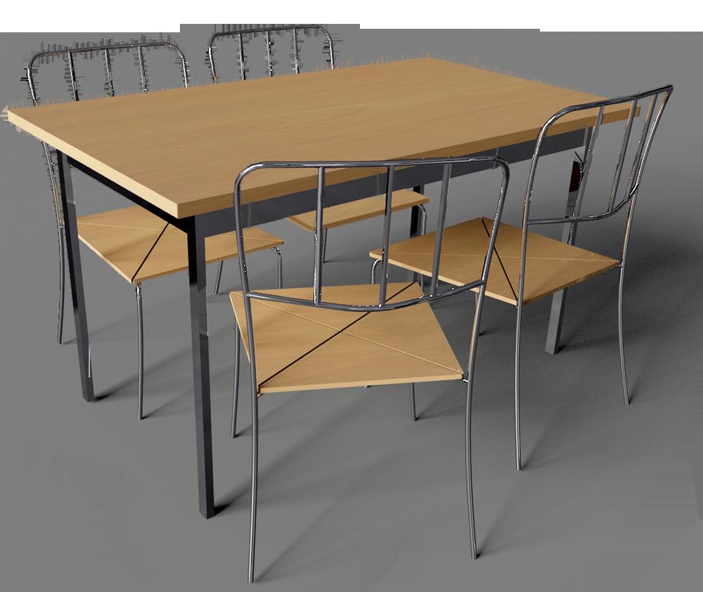 Objets BIM et CAO Antnas Table et 4 Chaises IKEA