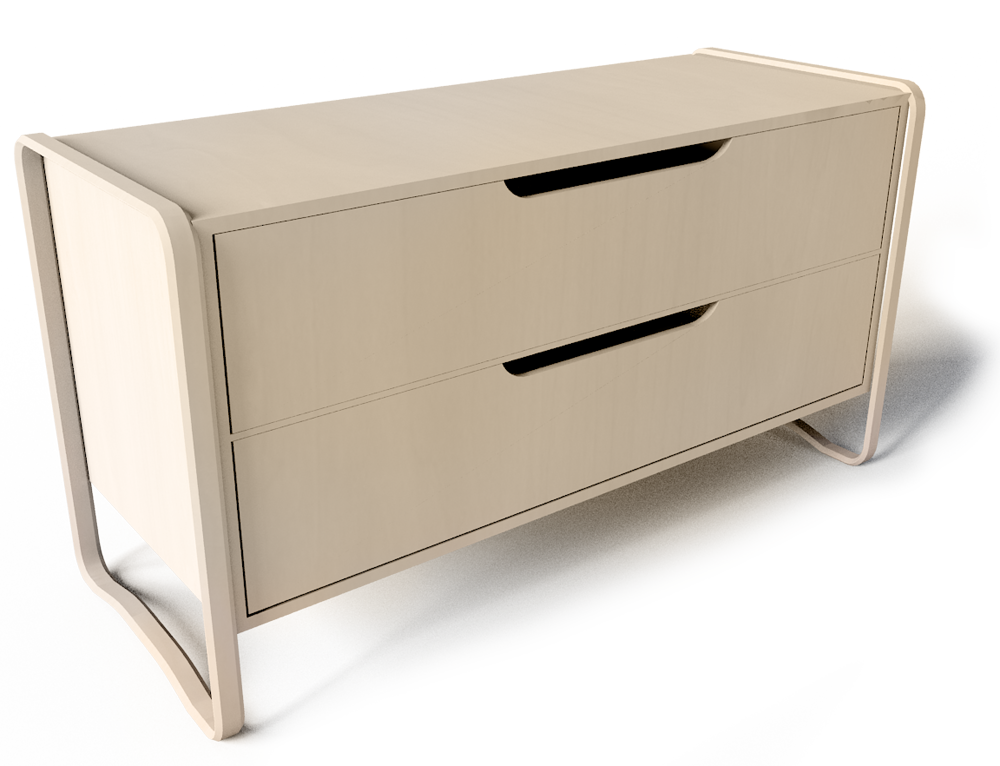Anes Chest of 2 Drawers Brich veneer  3D View