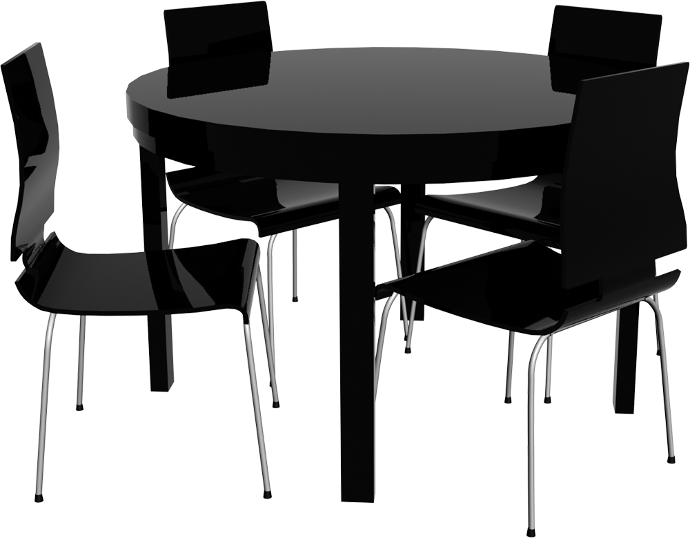 CAD and BIM object - Round Bjursta Table and Chairs