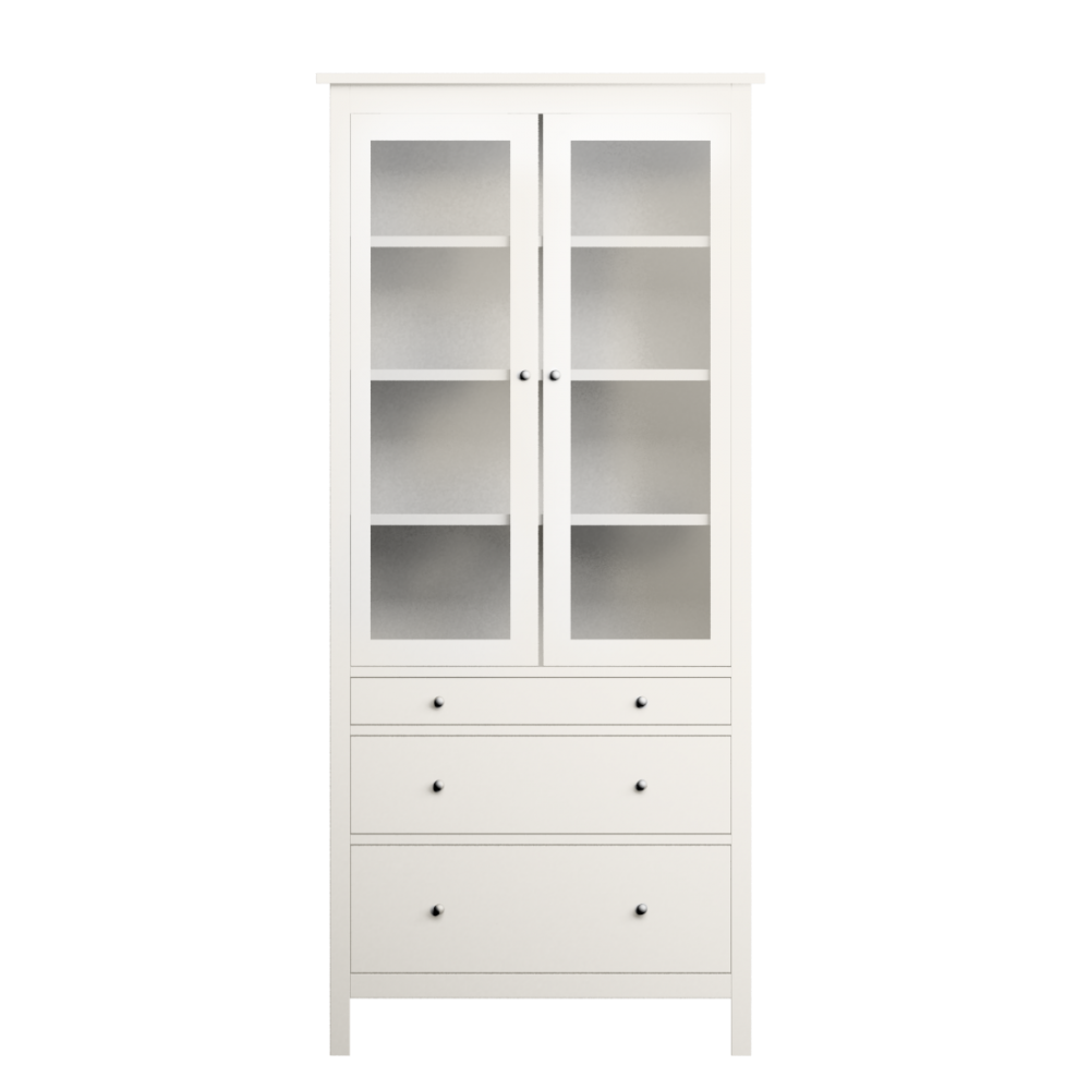 Cad And Bim Object Glass Door Cabinet With Four Drawers Ikea