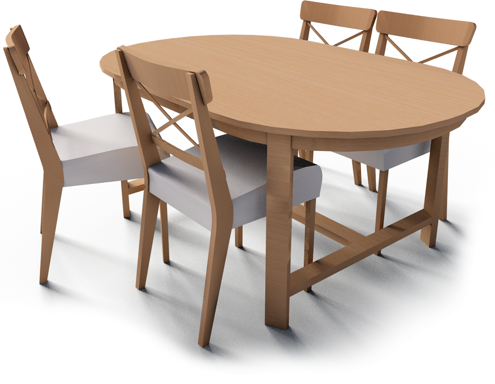 Bim Object Leksvik Table And 4 Ingolf Chairs Ikea