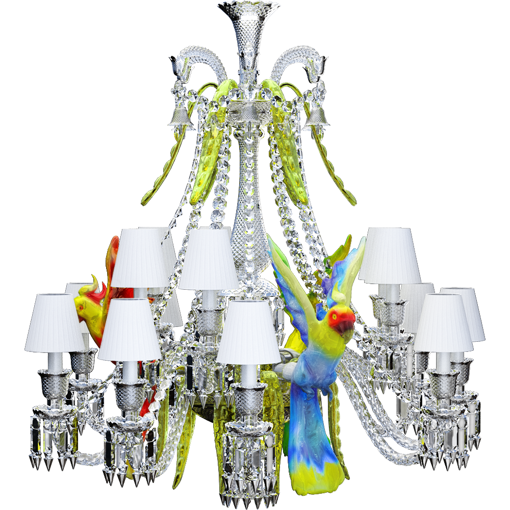 Zenith sur la Lagune Chandelier with parrots 15L  3D View