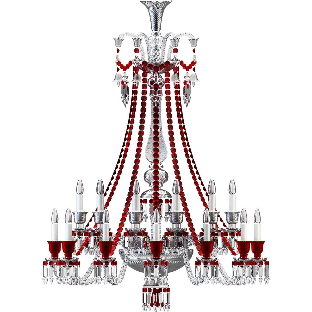 Zenith Clear and Red Chandelier 24L long  Front
