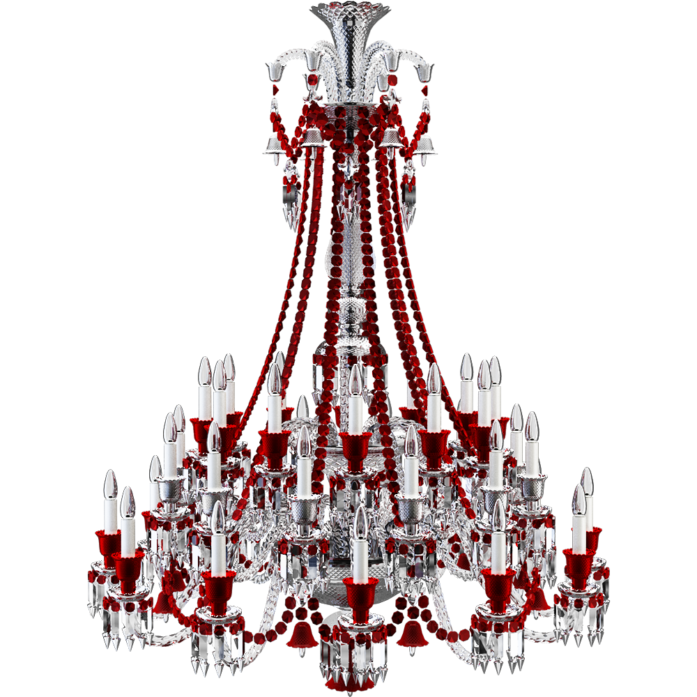 Cad And Bim Object Zenith Clear And Red Chandelier 36l