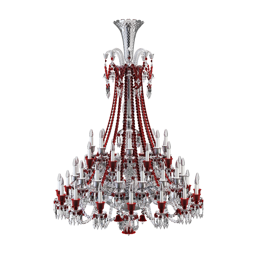 Zenith Clear and Red Chandelier 48L