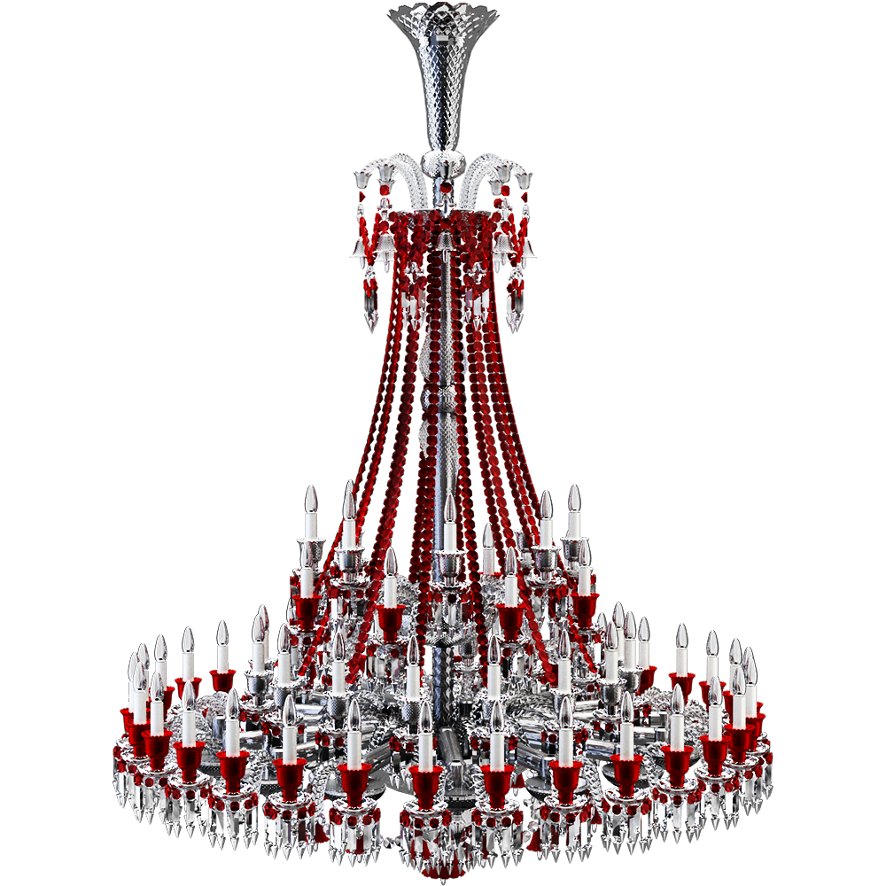 Zenith Clear And Red Chandelier 64L