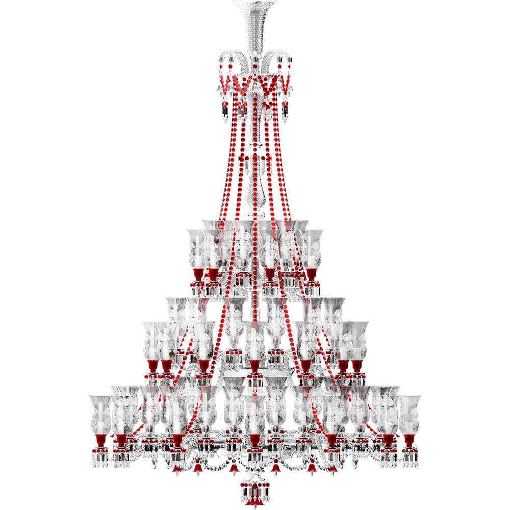 Cad And Bim Object Zenith Clear And Red Chandelier 84l