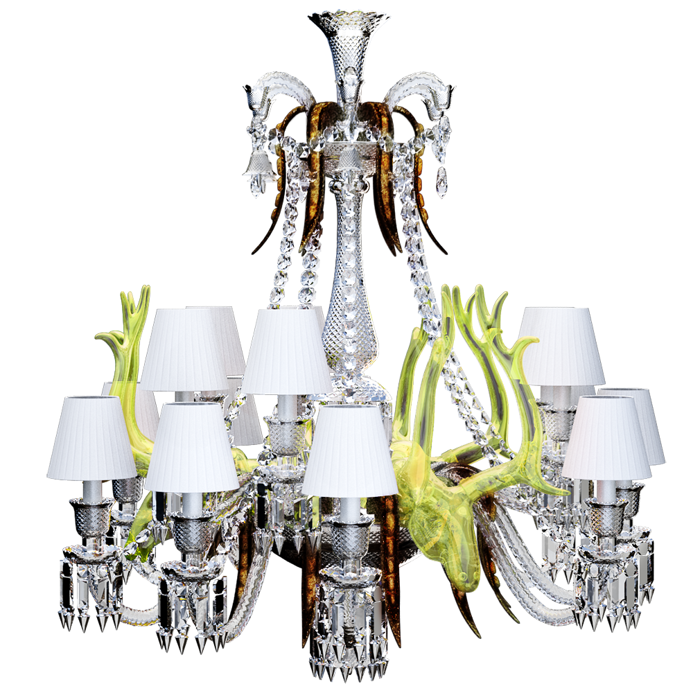 Baccarat free cad and bim objects 3d for revit autocad sketchup zenith sur la lagune chandelier with acid yellow deers 15l arubaitofo Images