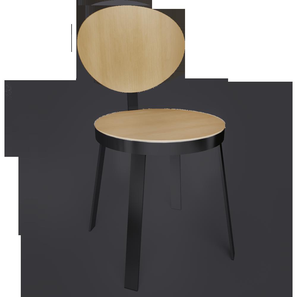 objets bim et cao chaise ds no 6 acier noir et chene. Black Bedroom Furniture Sets. Home Design Ideas