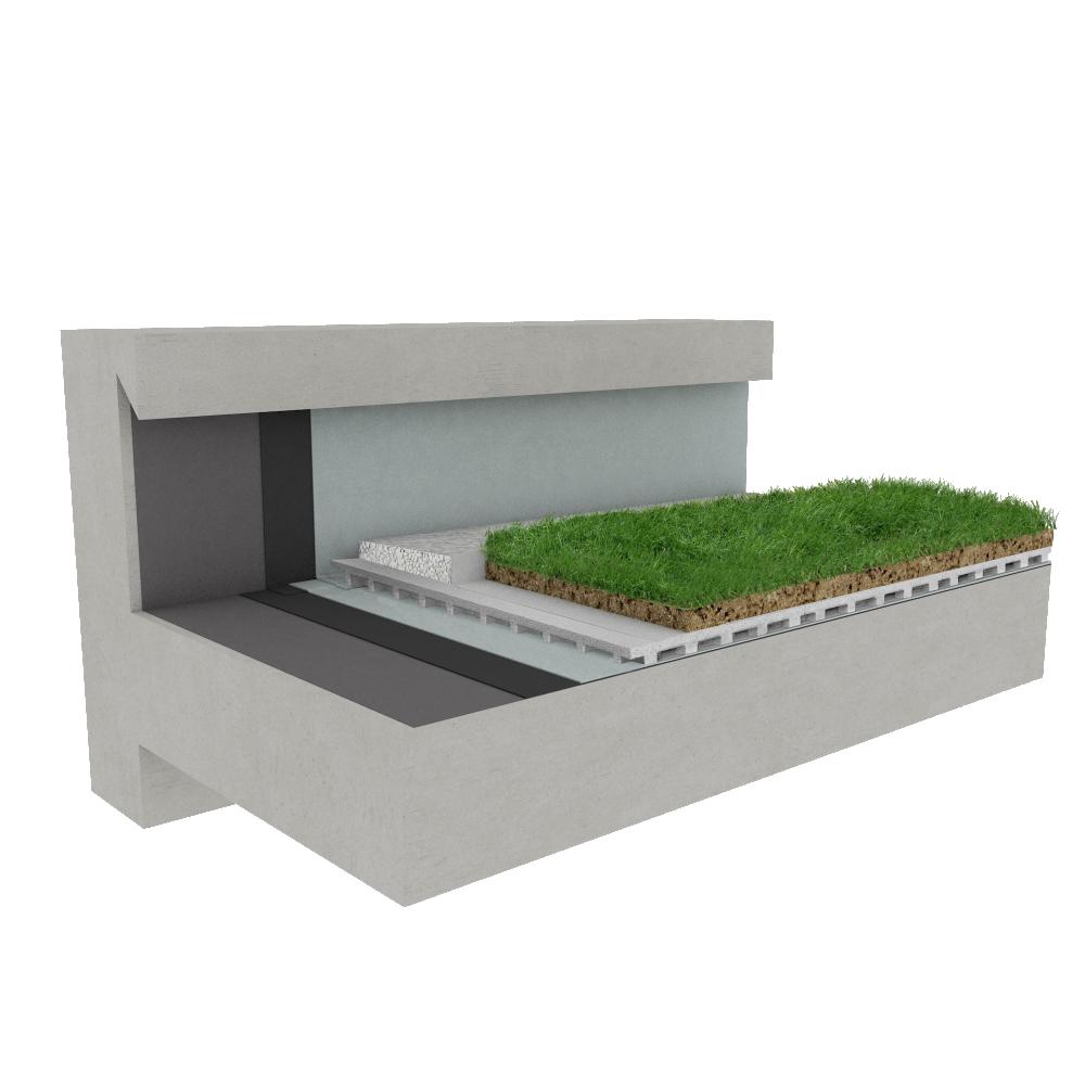 Objets BIM et CAO - Toiture terrasse végétalisée Canopia Végétapis multi usage béton - Siplast