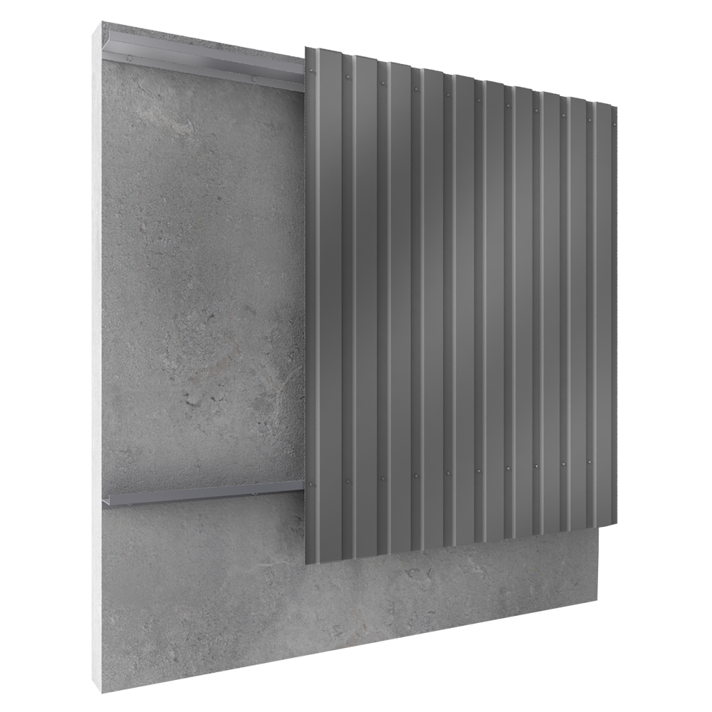 Steel built up cladding vertical position  3D View