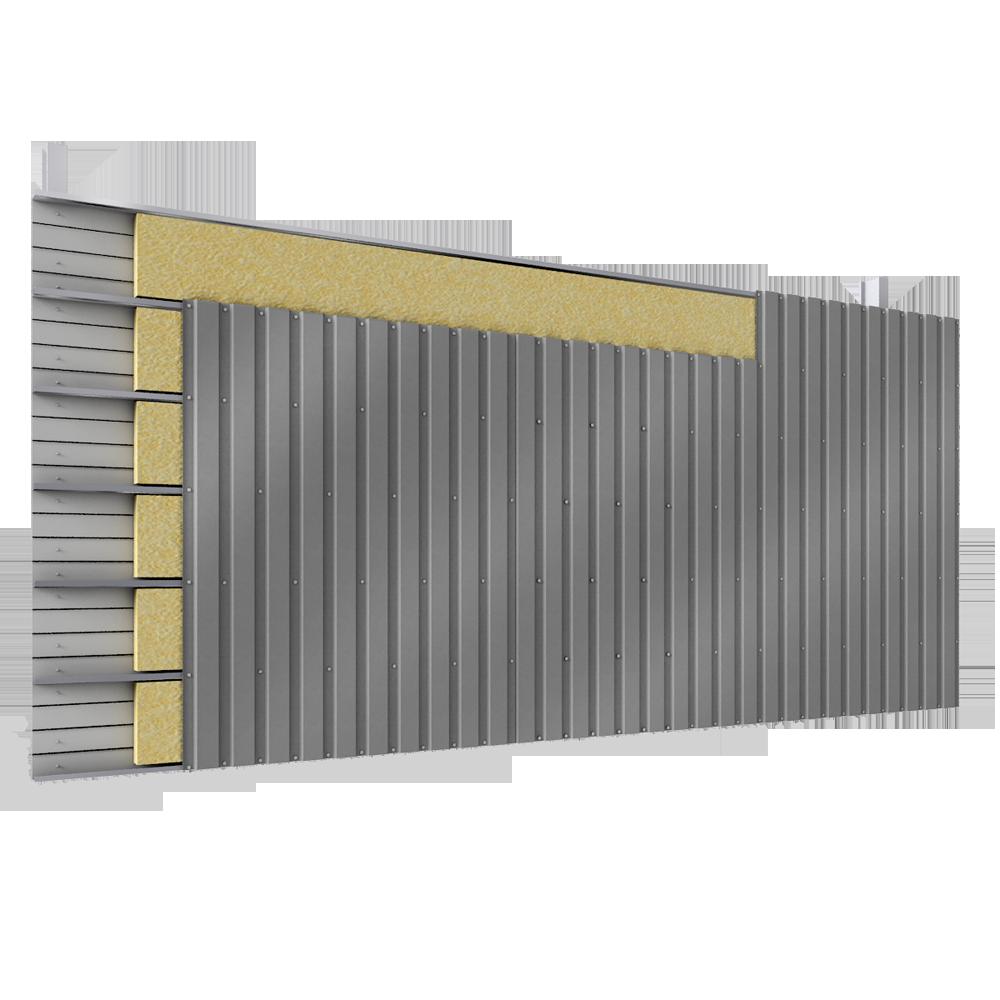 objets bim et cao bardage acier double peau pose v plateaux pleins 2 lits d 39 isolant. Black Bedroom Furniture Sets. Home Design Ideas