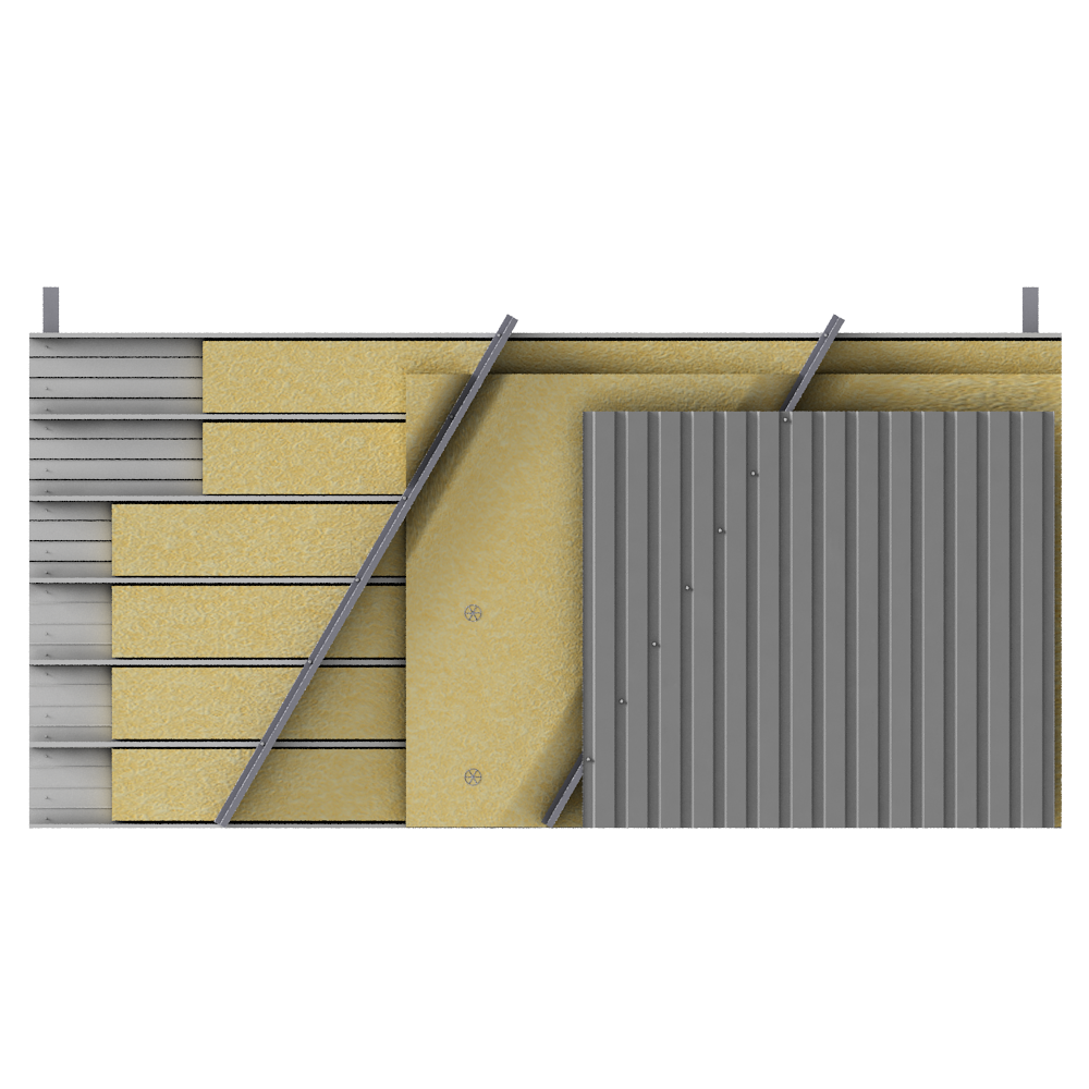 Steel double skin cladding V pos trays diagonal spacers insulation  Front