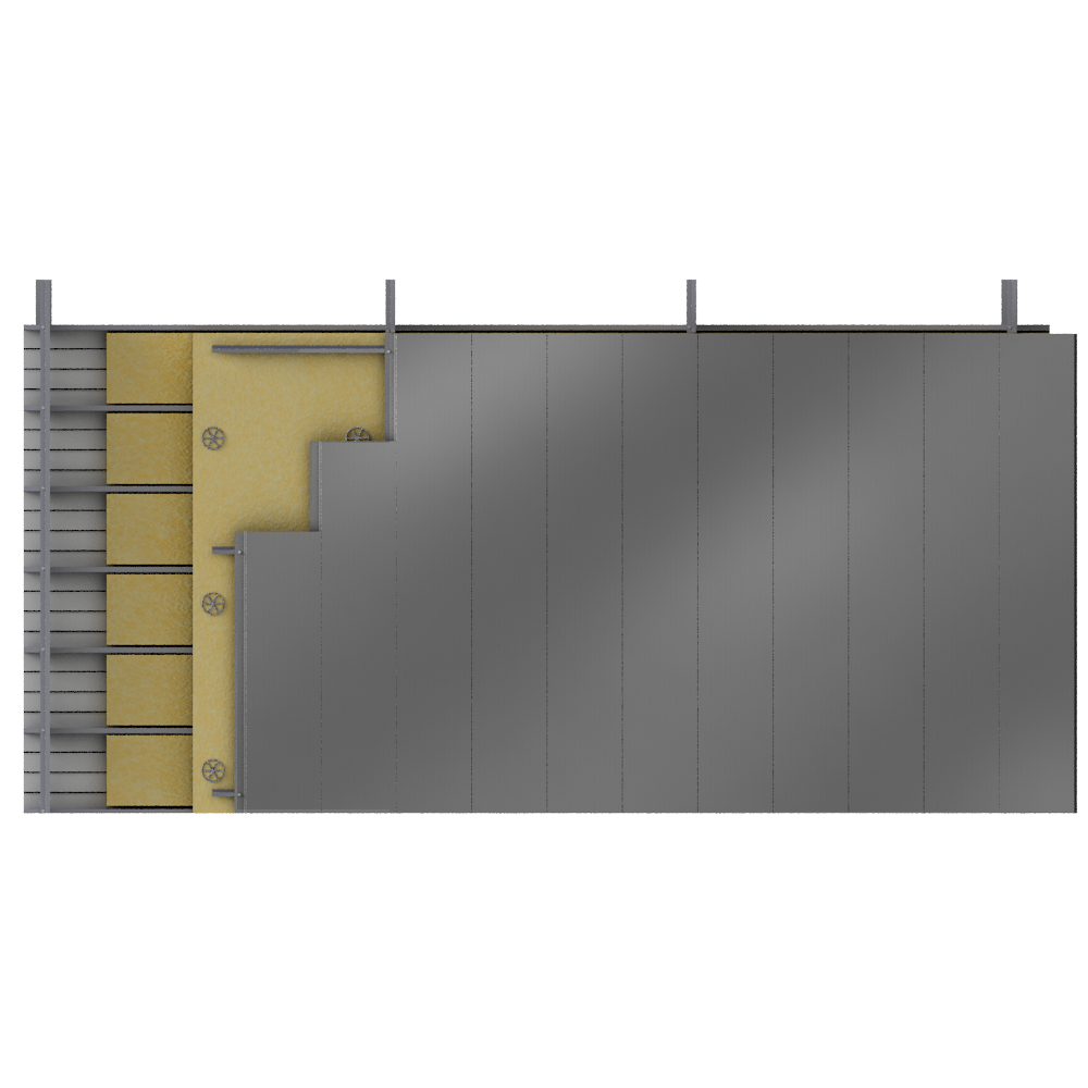 objets bim et cao bardage double peau lames acier alu pose v plateaux pleins isolation. Black Bedroom Furniture Sets. Home Design Ideas
