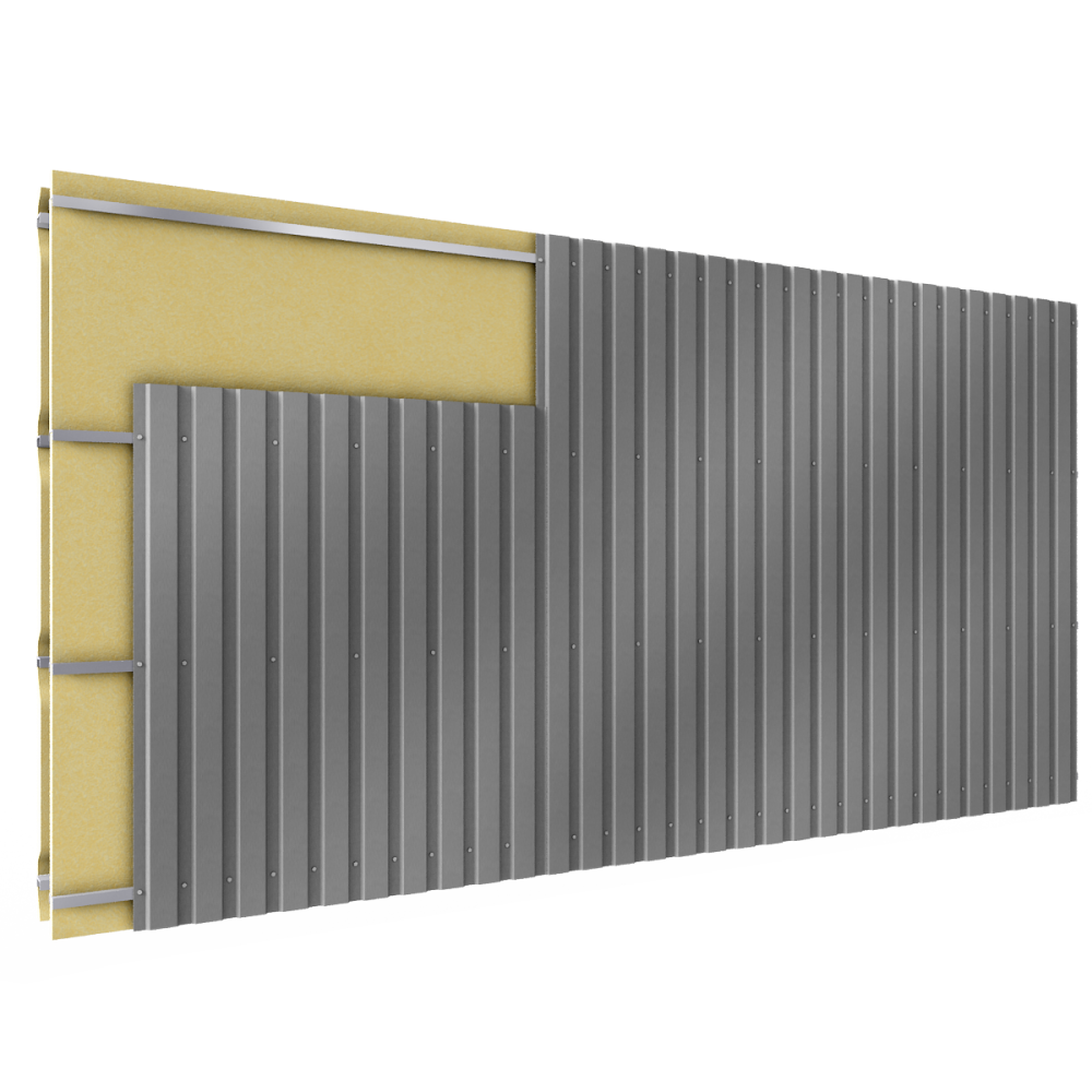 Cladding with 2 skins  3D View