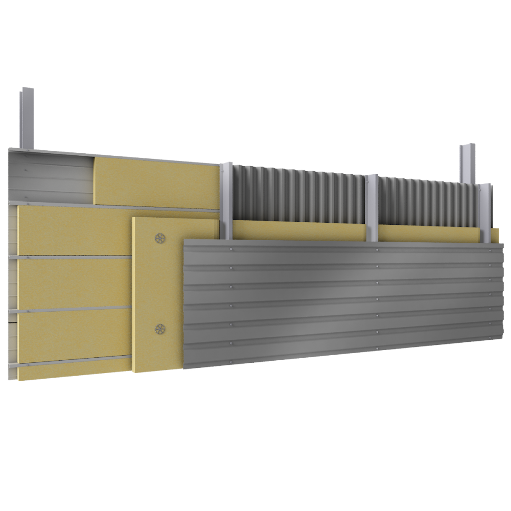 Multi skin cladding trays spacers insulation  3D View