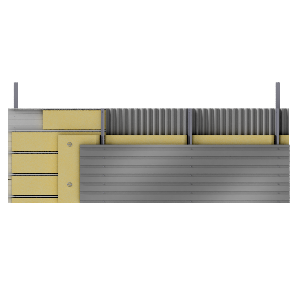 Multi skin cladding trays spacers insulation  Front