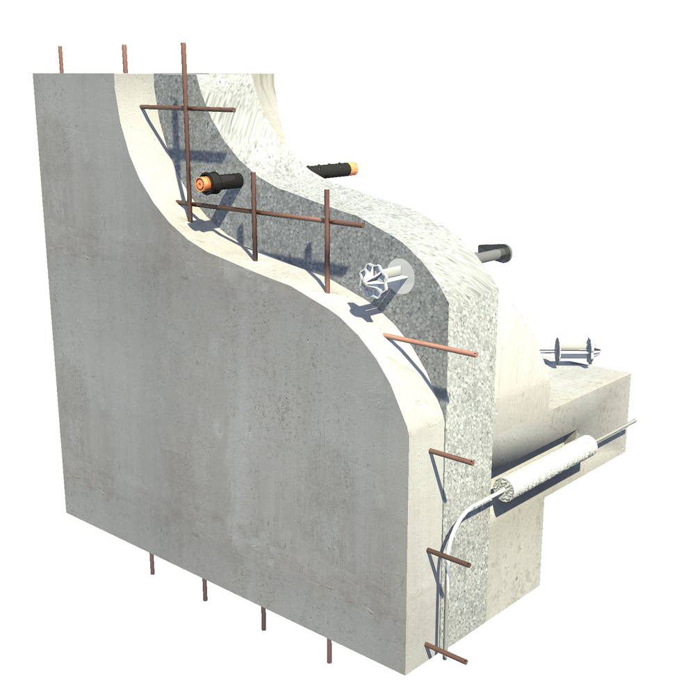 GBE System Double skin concrete insulated walls  3D View