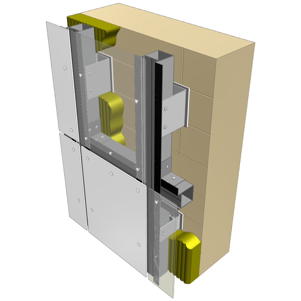 Reynobond Aluminum Composite Panels : Objeto bim y cad reynobond riveted screwed on wood or