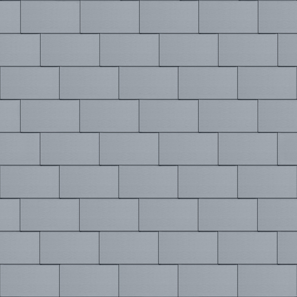 Flat-Lock Tile Facade (333 mm x 600 mm, horizontal, prePATINA blue-grey)