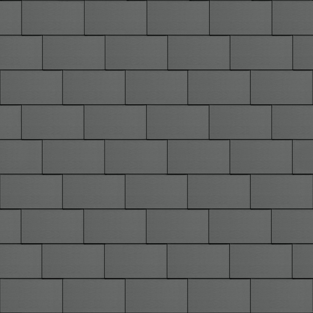 Flat-Lock Tile Facade (500 mm x 1000 mm, horizontal, prePATINA graphite-grey)