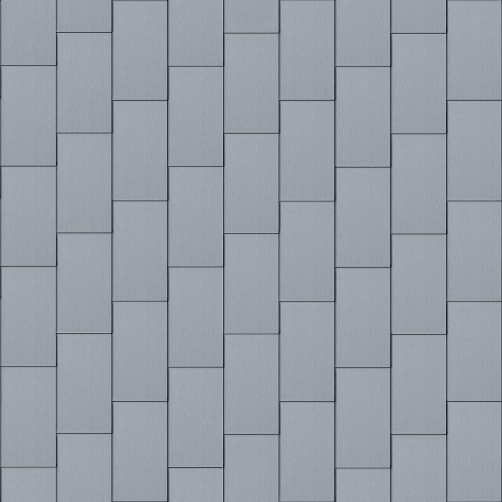 Flat-Lock Tile Facade (500 mm x 1000 mm, vertical, prePATINA blue-grey)