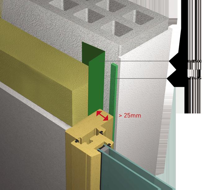 APPLIQUE INTERIEURE Passif avec recouvrement menuiserie sur gros œuvre superieur a 25mm  3D View