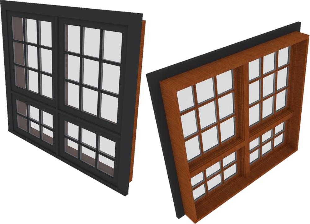 Kolbe Windows cad and bim object ultra window push out awning combination 2wx2h