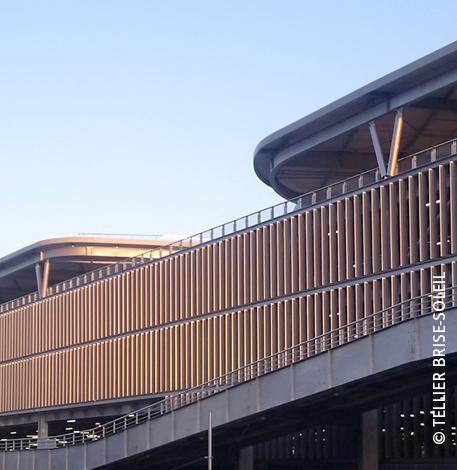 Brise-soleil entre embouts a oreilles pose horizontale, verticale et lames debout  3D View